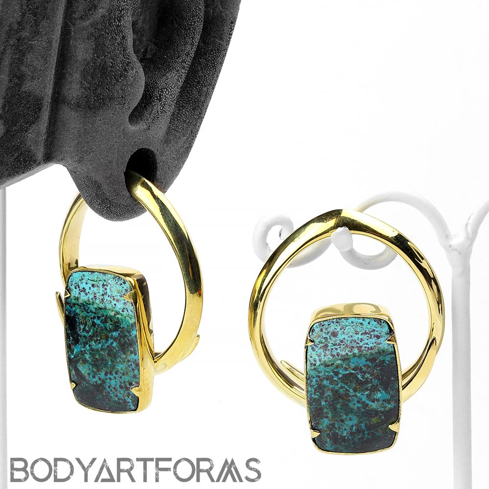Solid Brass Coils with Chrysocolla