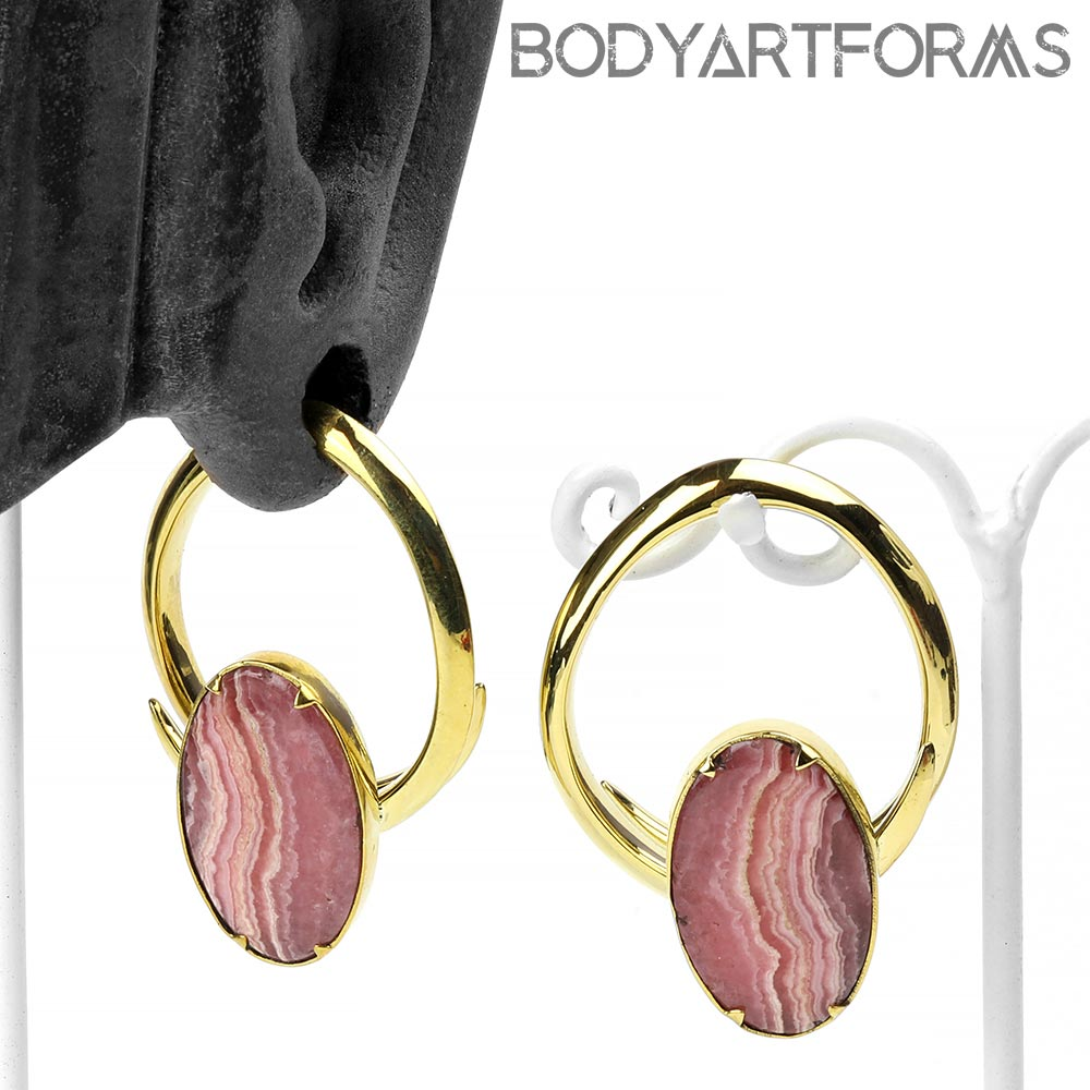 Solid Brass Coils with Rhodochrosite