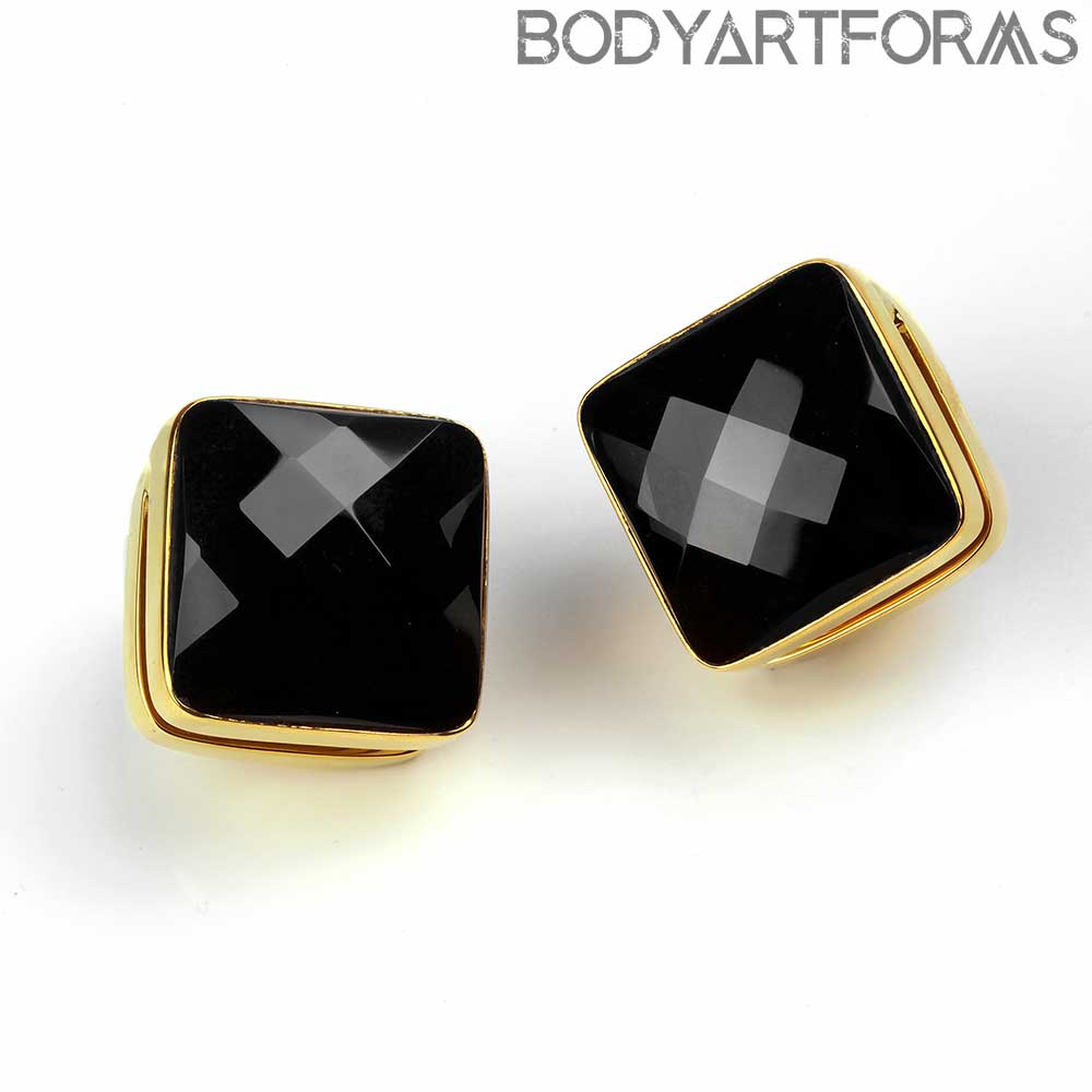 Solid Brass Cubix Weights with Faceted Black Obsidian