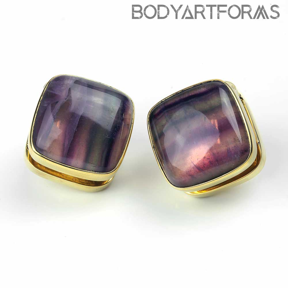 Solid Brass Cubix Weights with Fluorite