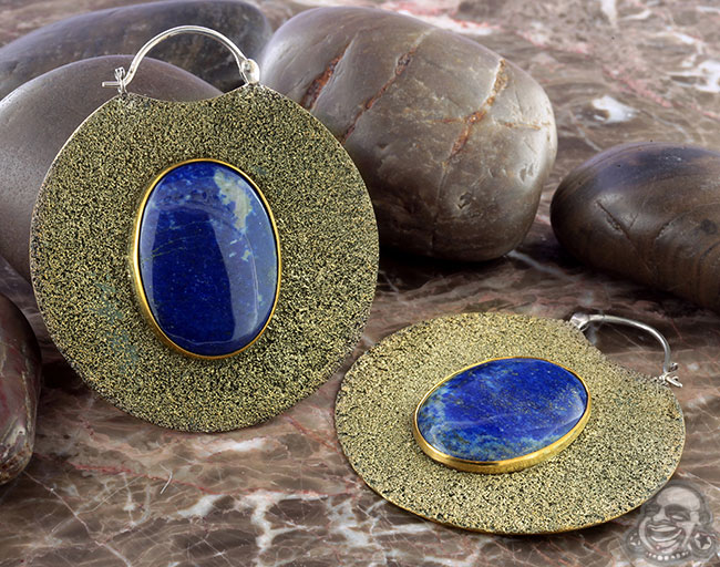 Silver and Distressed Brass Solar Moon Hoops with Lapis