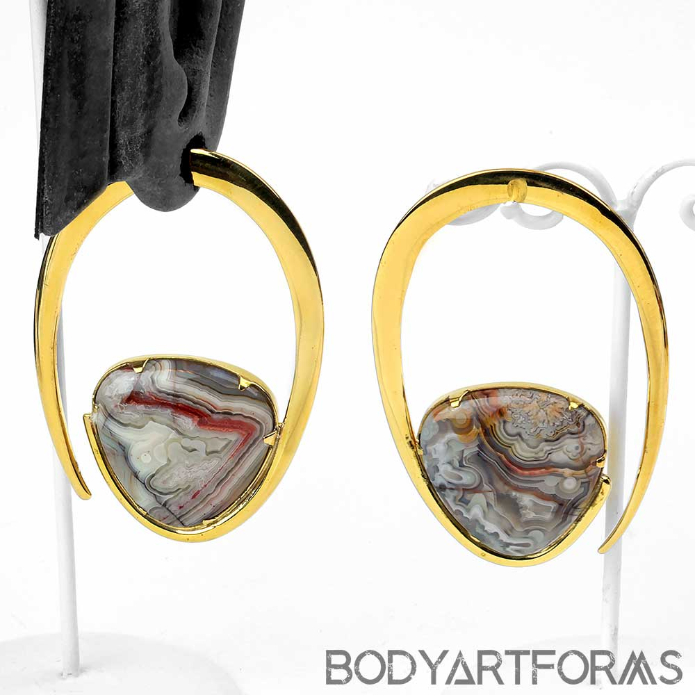 Solid Brass Ellipse Weights with Crazy Lace Agate