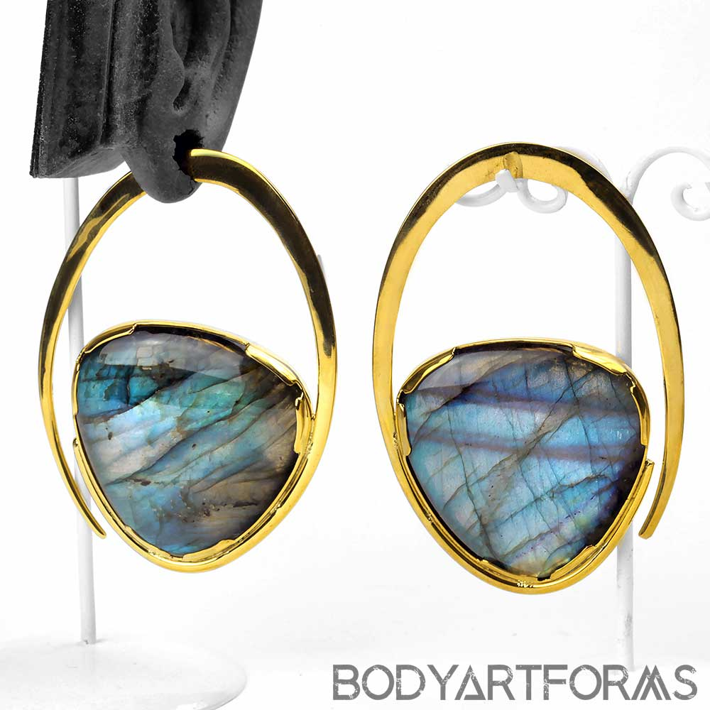 Solid Brass Ellipse Weights with Labradorite