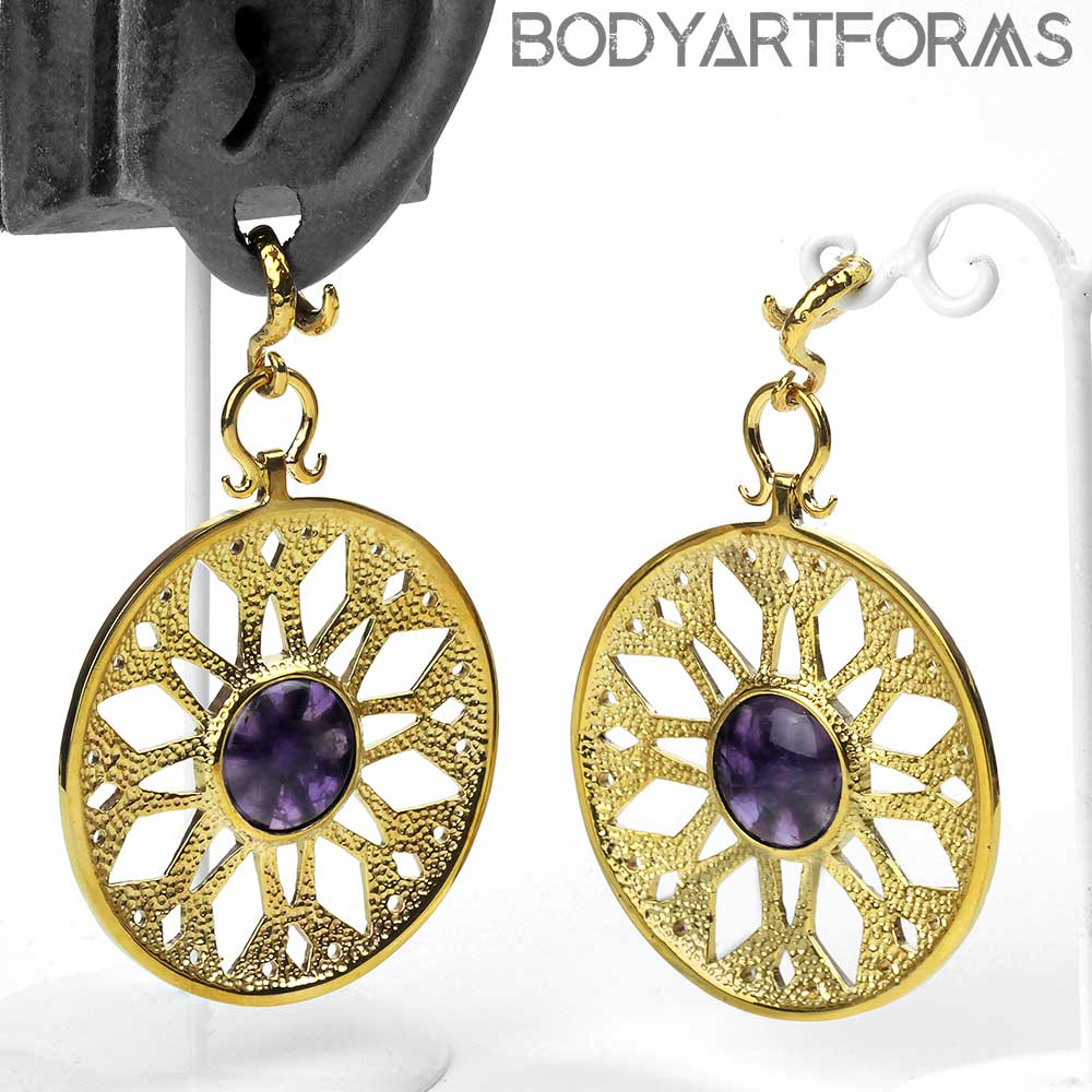 Brass Essence Medallion with Amethyst