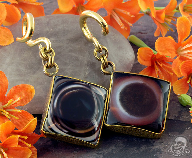 Solid Brass and Eye Agate Weights