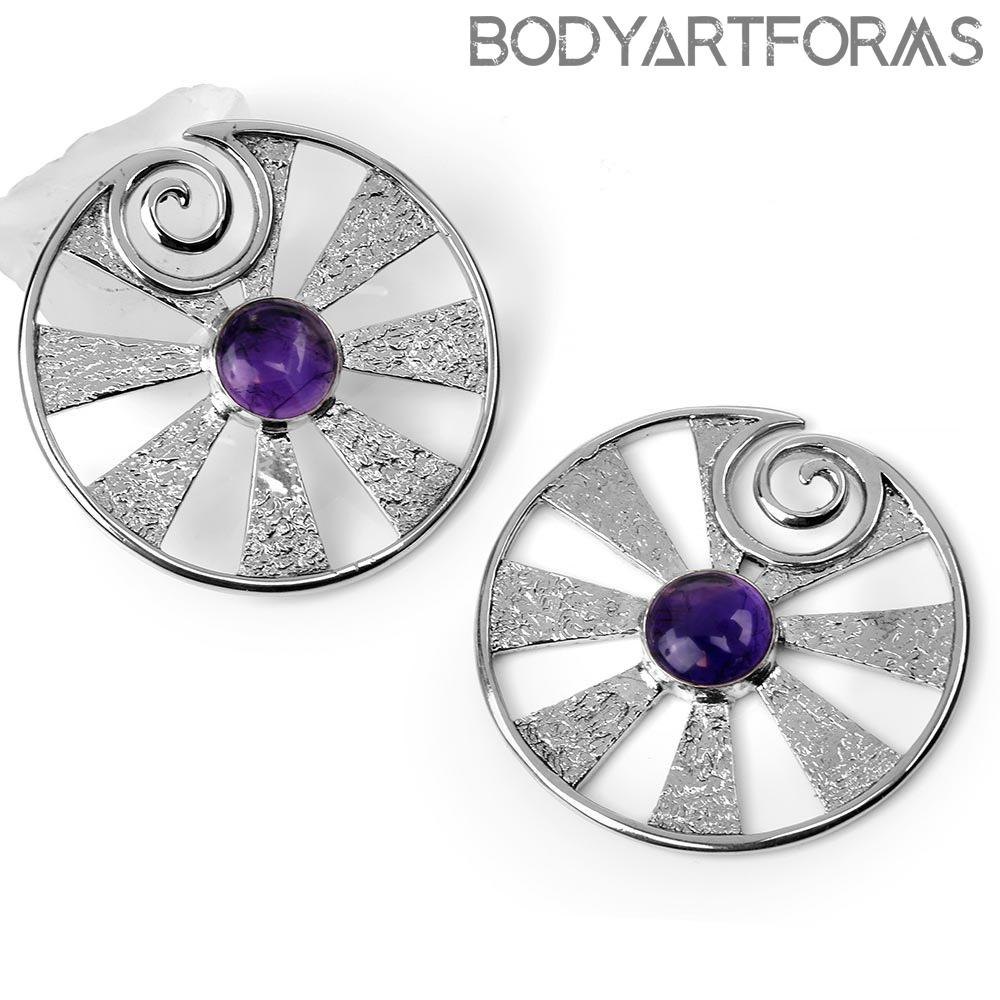 White Brass Eye of Shiva Design with Amethyst