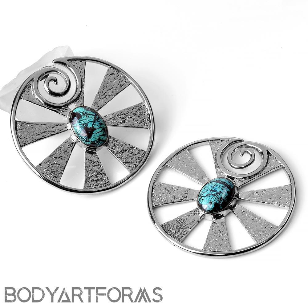 White Brass Eye of Shiva Design with Chrysocolla