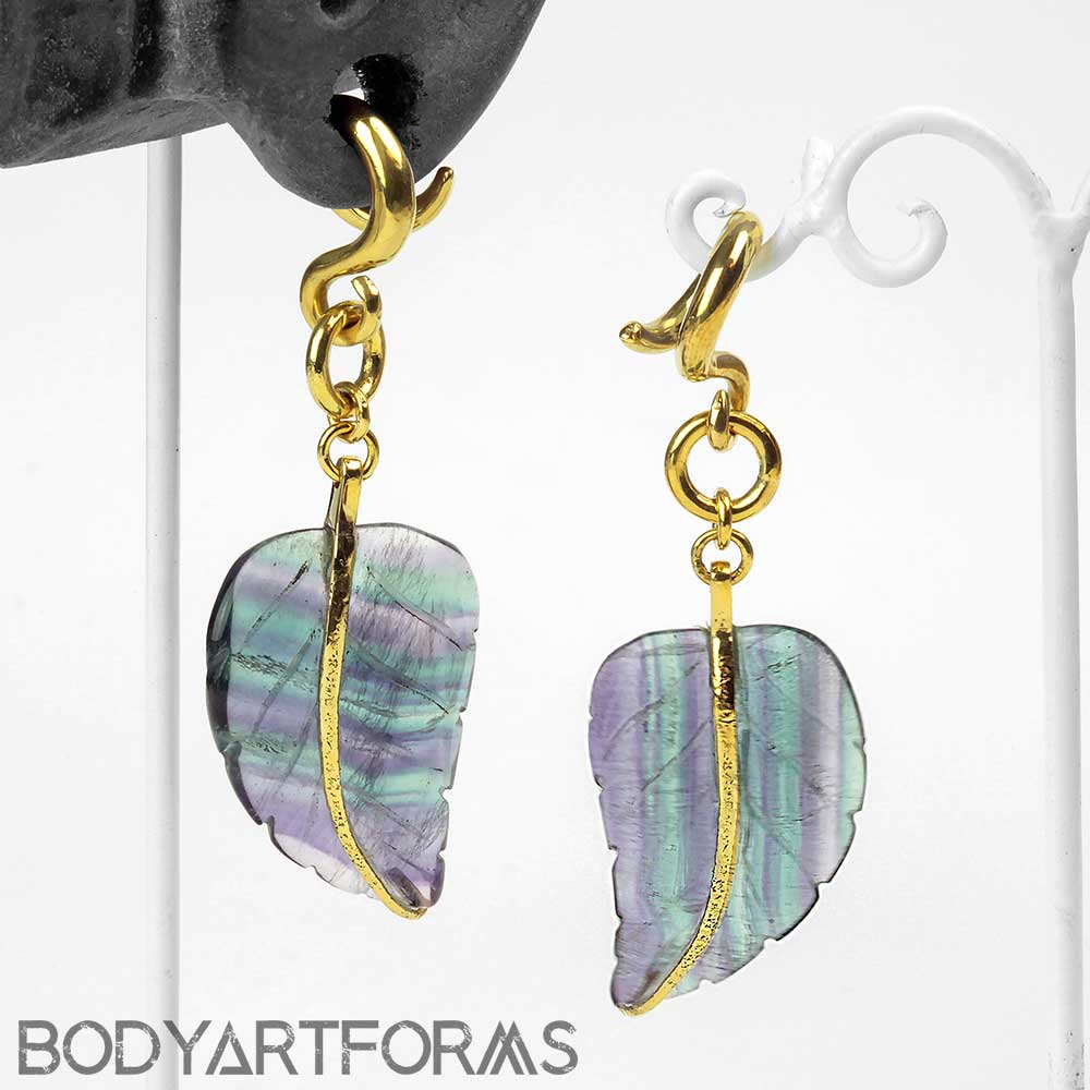 Solid Brass and Fluorite Leaf Weights