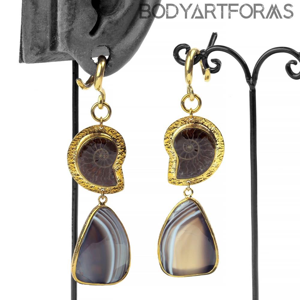 Solid Brass, Ammonite and Botswana Agate Dangle Weights