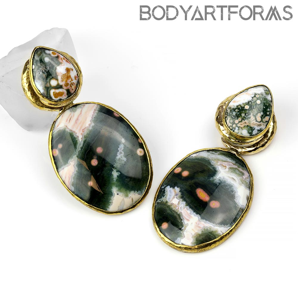 Hammered Brass Fused Coil Weights with Ocean Jasper