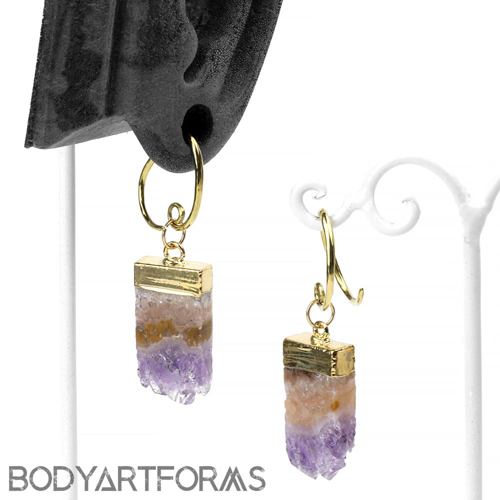 Brass and Gold Dipped Rectangular Amethyst Druzy Slices