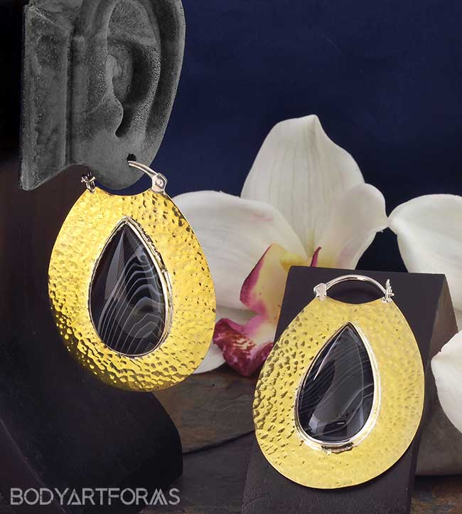 Hammered Brass Solar Moon Hoops with Agate
