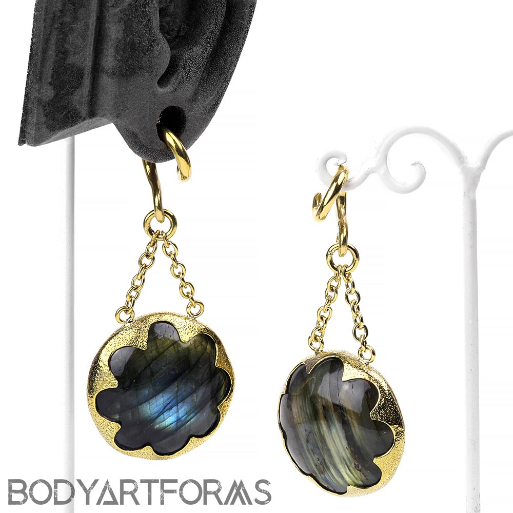 Solid Brass and Labradorite Cushion Weights