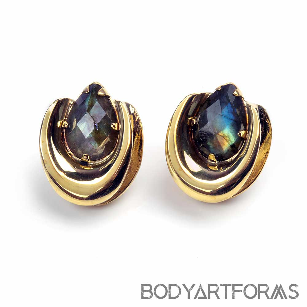 Brass Saddles with Faceted Labradorite