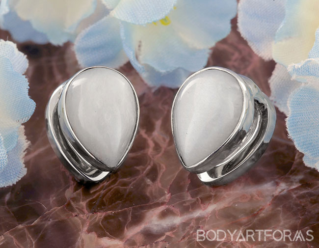 White Brass Mini Spade Weights with Moonstone