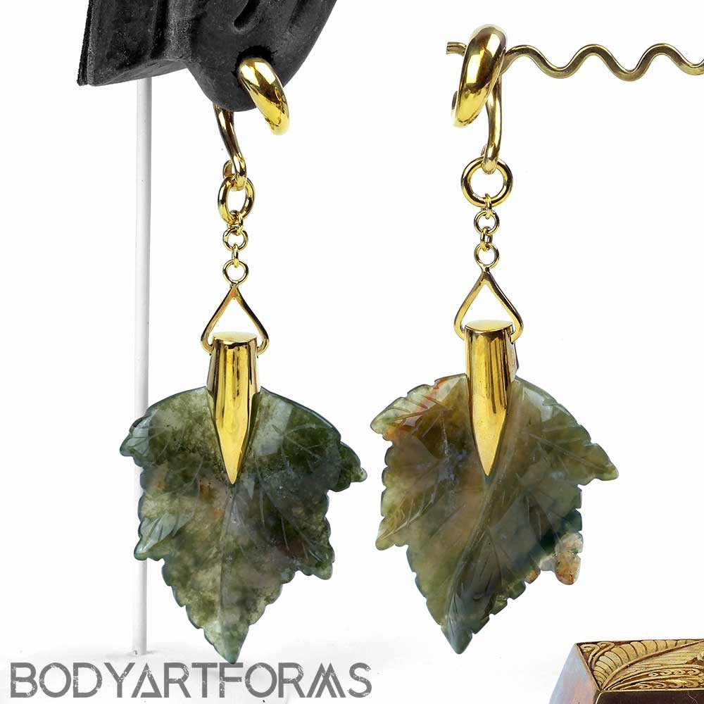Solid Brass and Moss Agate Maple Leaf Weights