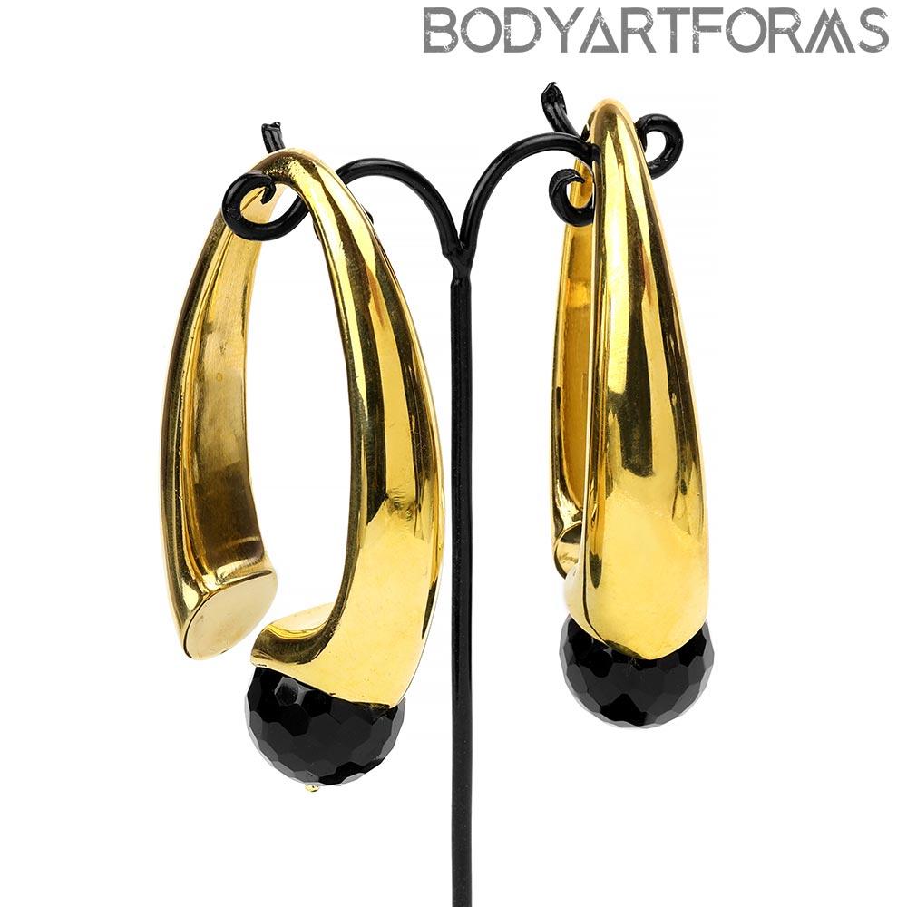 Brass Nova Design with Faceted Black Obsidian