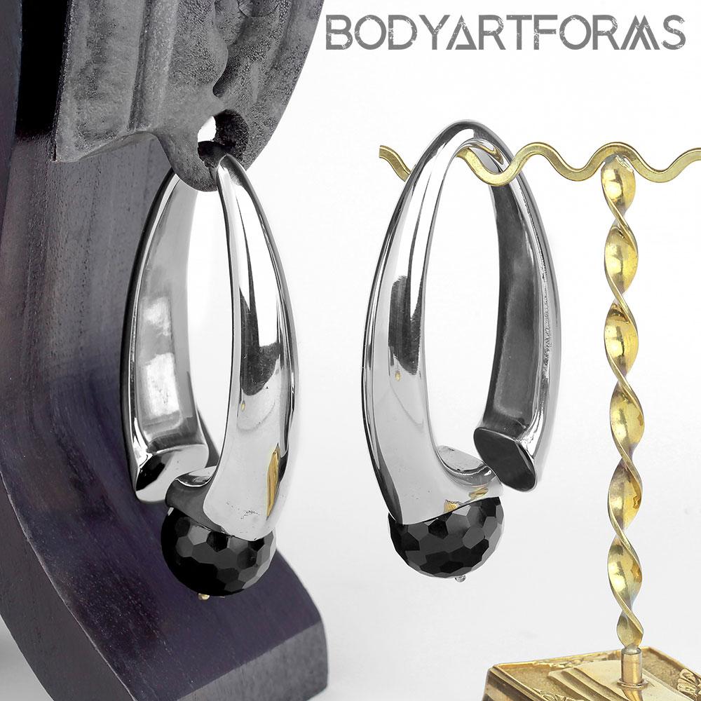 White Brass Nova Design with Faceted Black Obsidian