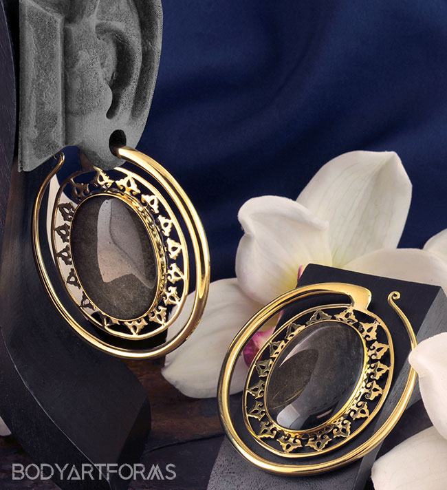 Solid Brass Oval Puj Ju Hoops with Golden Obsidian