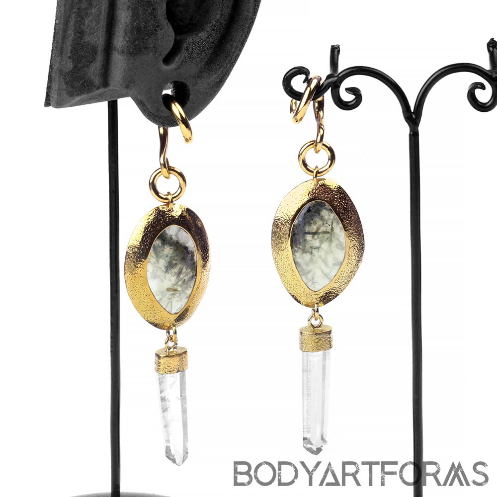 Prehnite and Crystal Quartz Dangle Weights