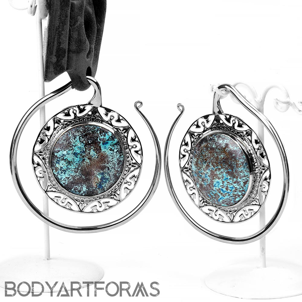 White Brass Puj Ju Hoops with Chrysocolla
