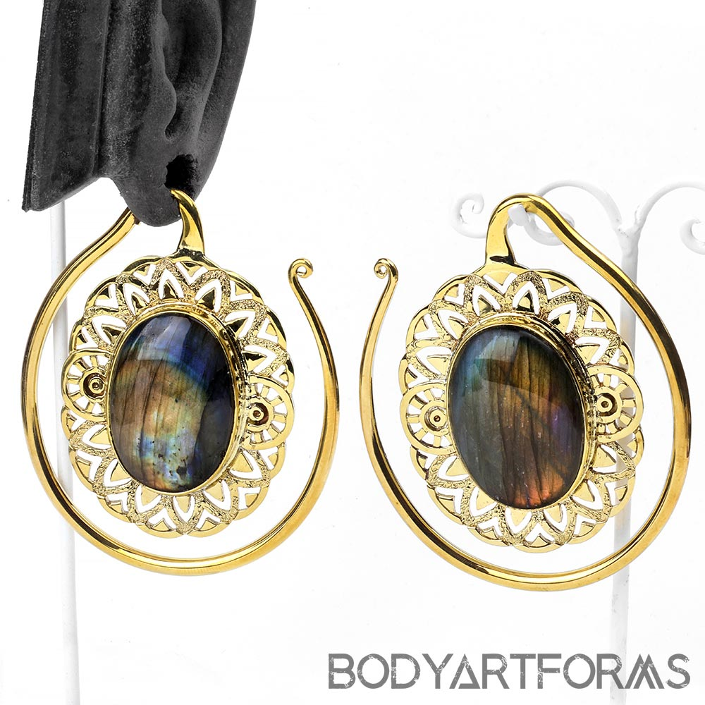 Solid Brass Oval Puj Ju Hoops with Labradorite