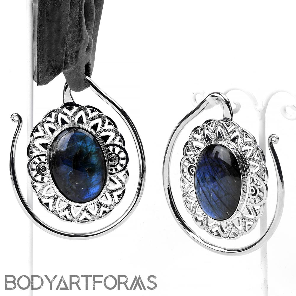 Solid White Brass Oval Puj Ju Hoops with Labradorite