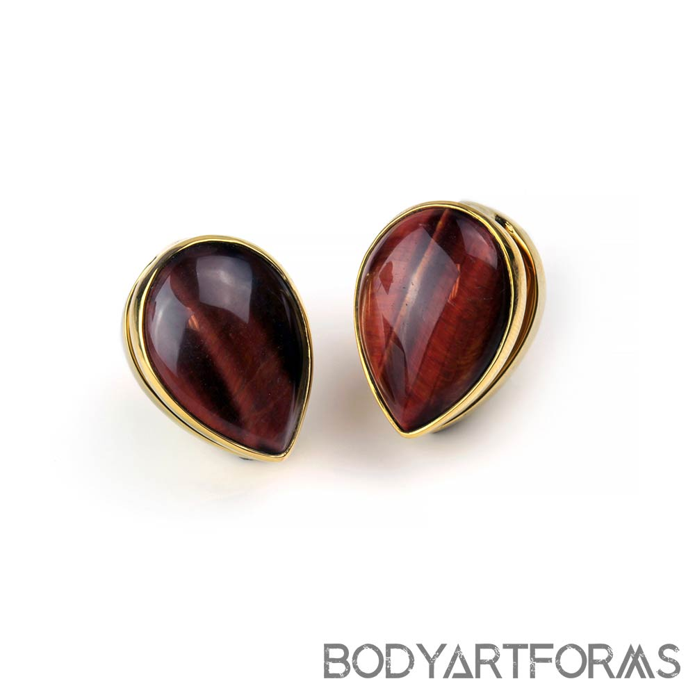 Solid Brass Spade Weights with Red Tiger Eye