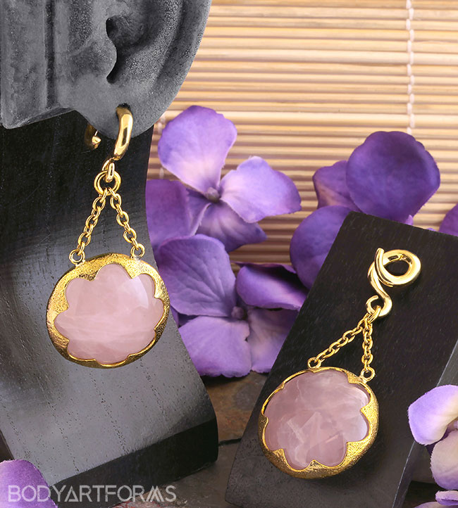 Solid Brass and Rose Quartz Cushion Weights