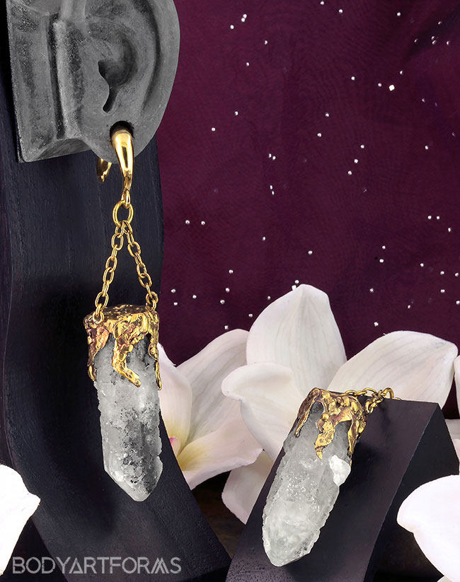 Solid Brass and Rough Cloudy Quartz Weights