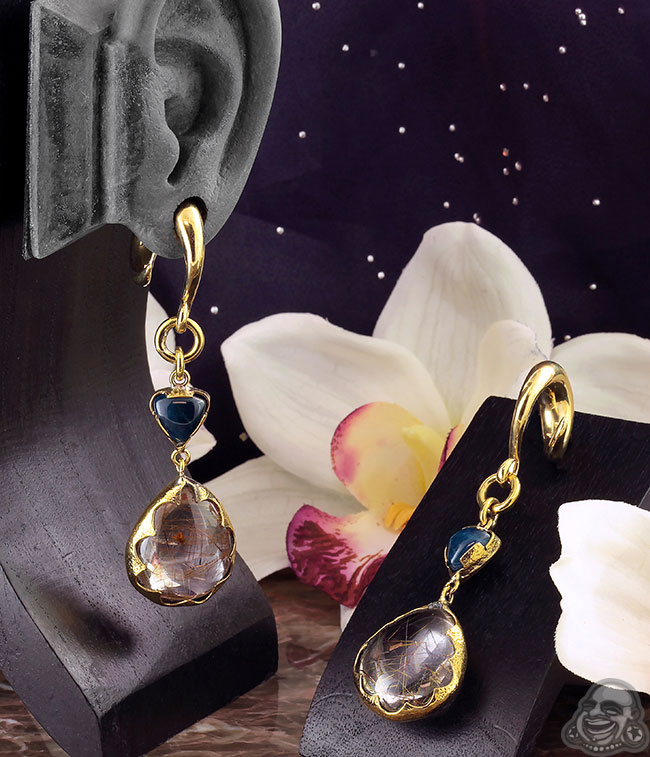 Solid Brass and Rutilated Quartz Weights