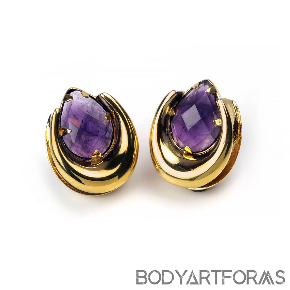 Brass Saddles with Faceted Amethyst