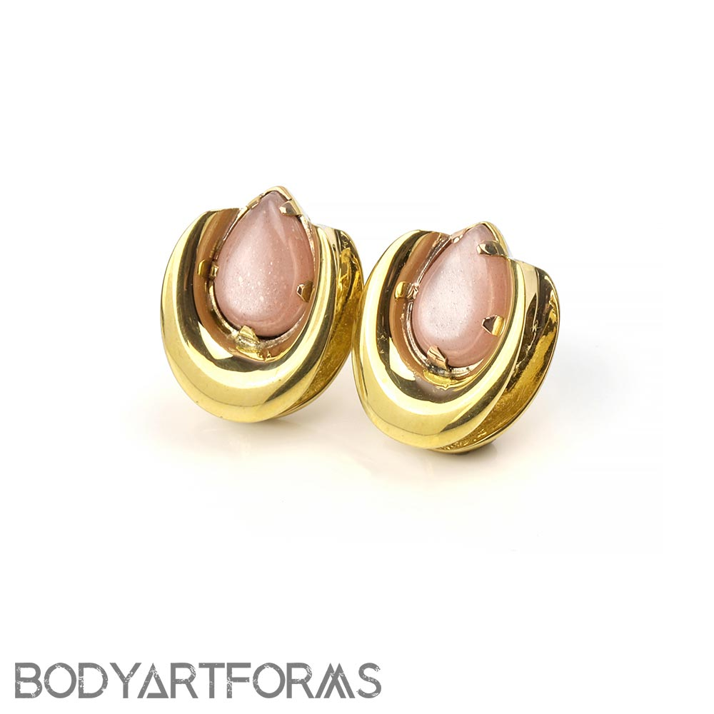 Solid Brass Saddles with Peach Moonstone