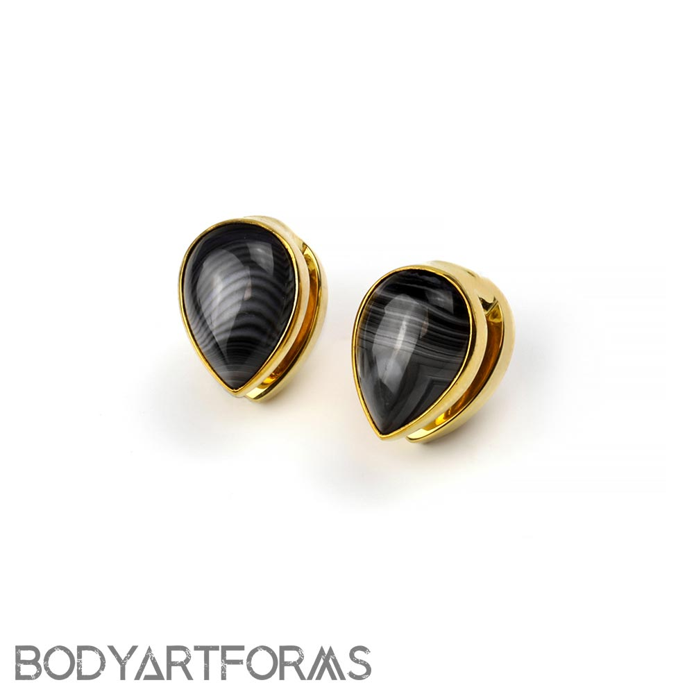 Solid Brass Spade Weights with Banded Agate