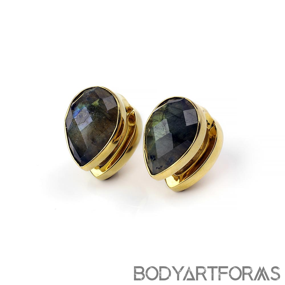 Solid Brass Spade Weights with Faceted Labradorite