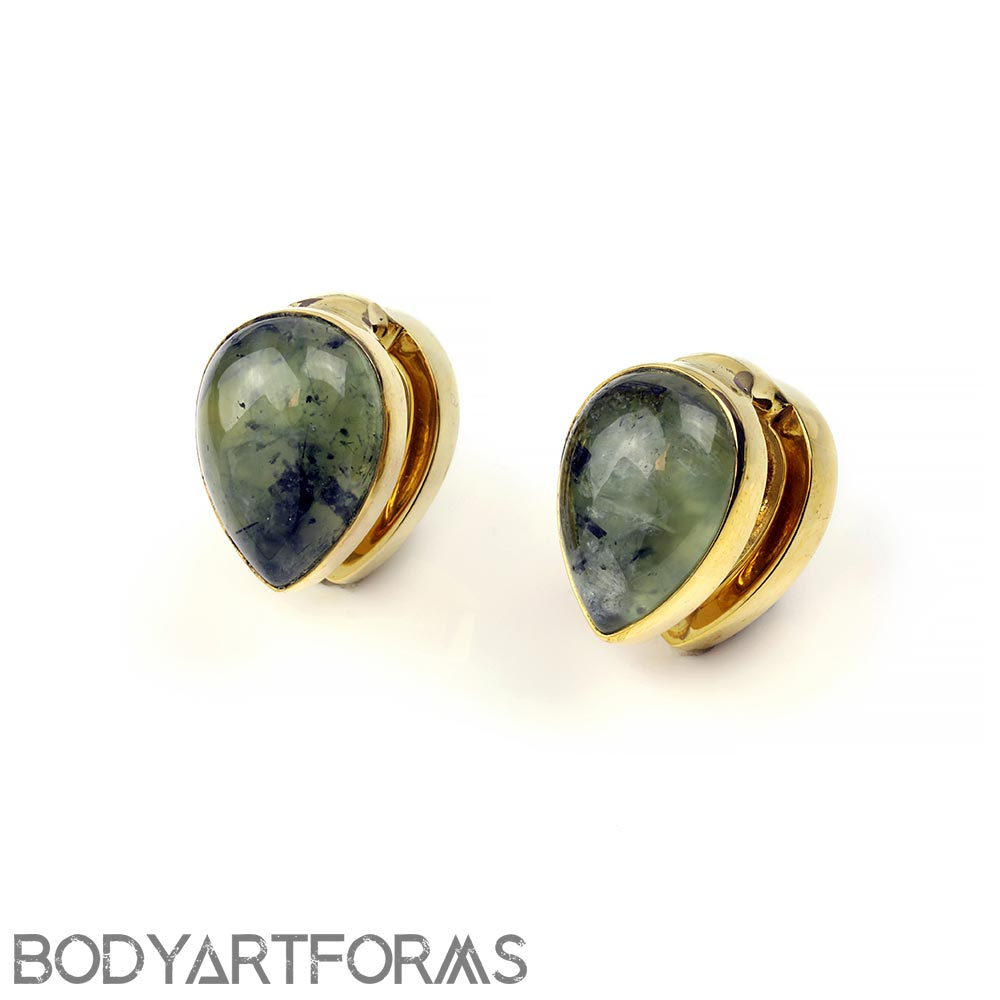 Solid Brass Spade Weights with Prehnite