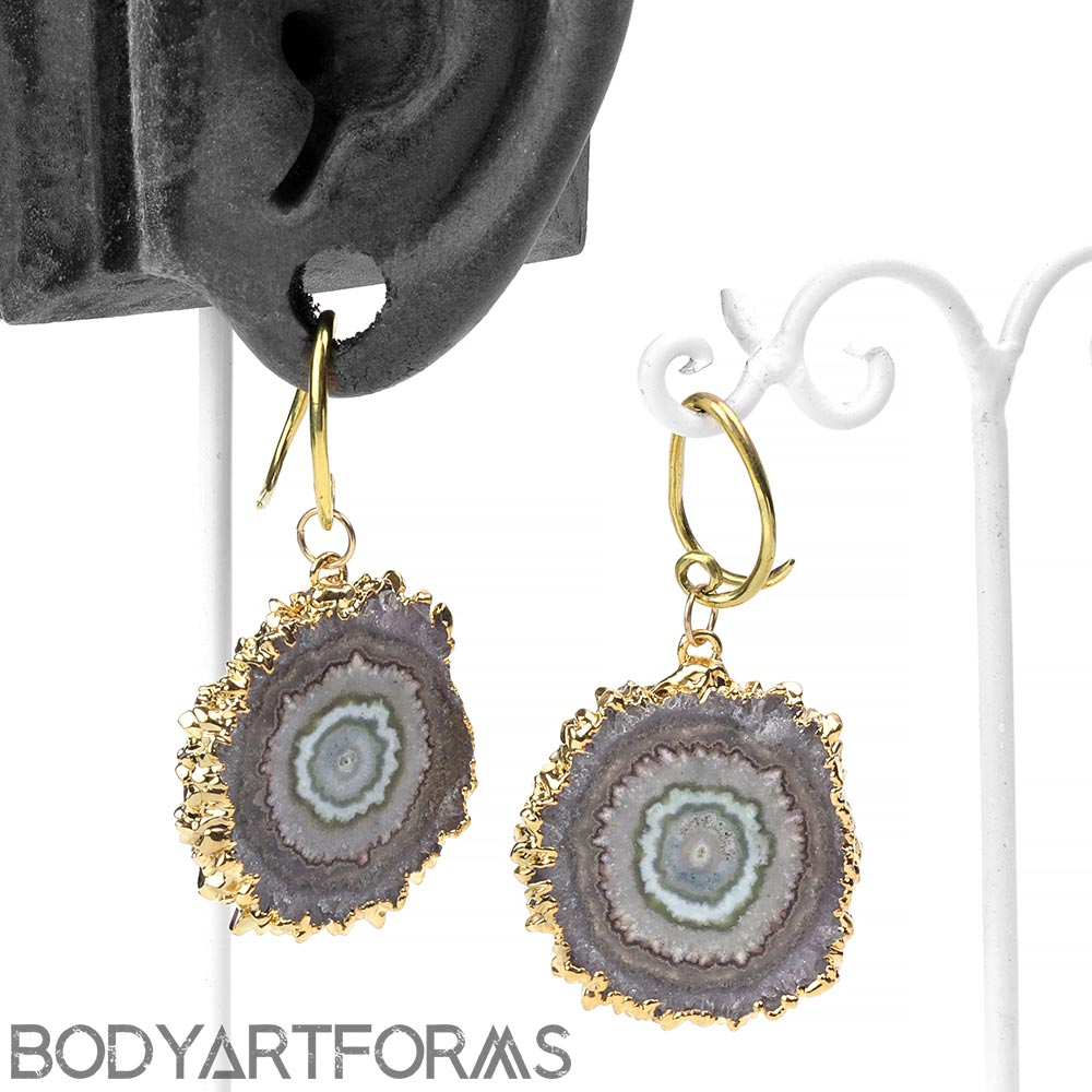 Brass and Gold Dipped Stalactite Slice Hanging Design