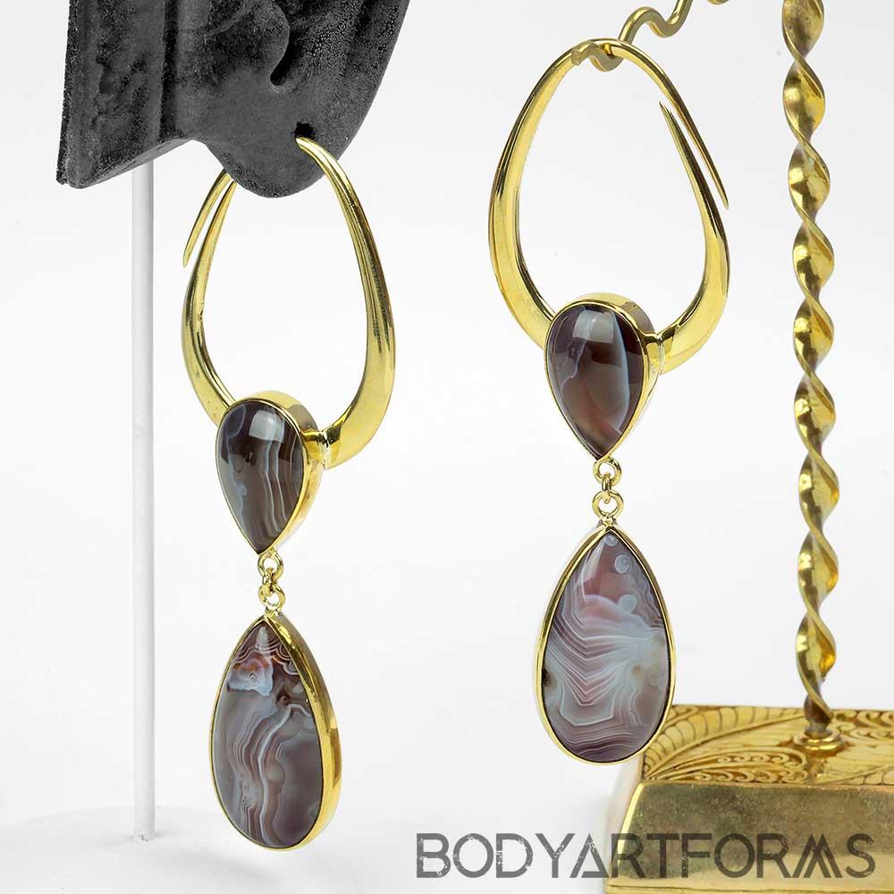 Solid Brass Teardrop Design with Botswana Agate