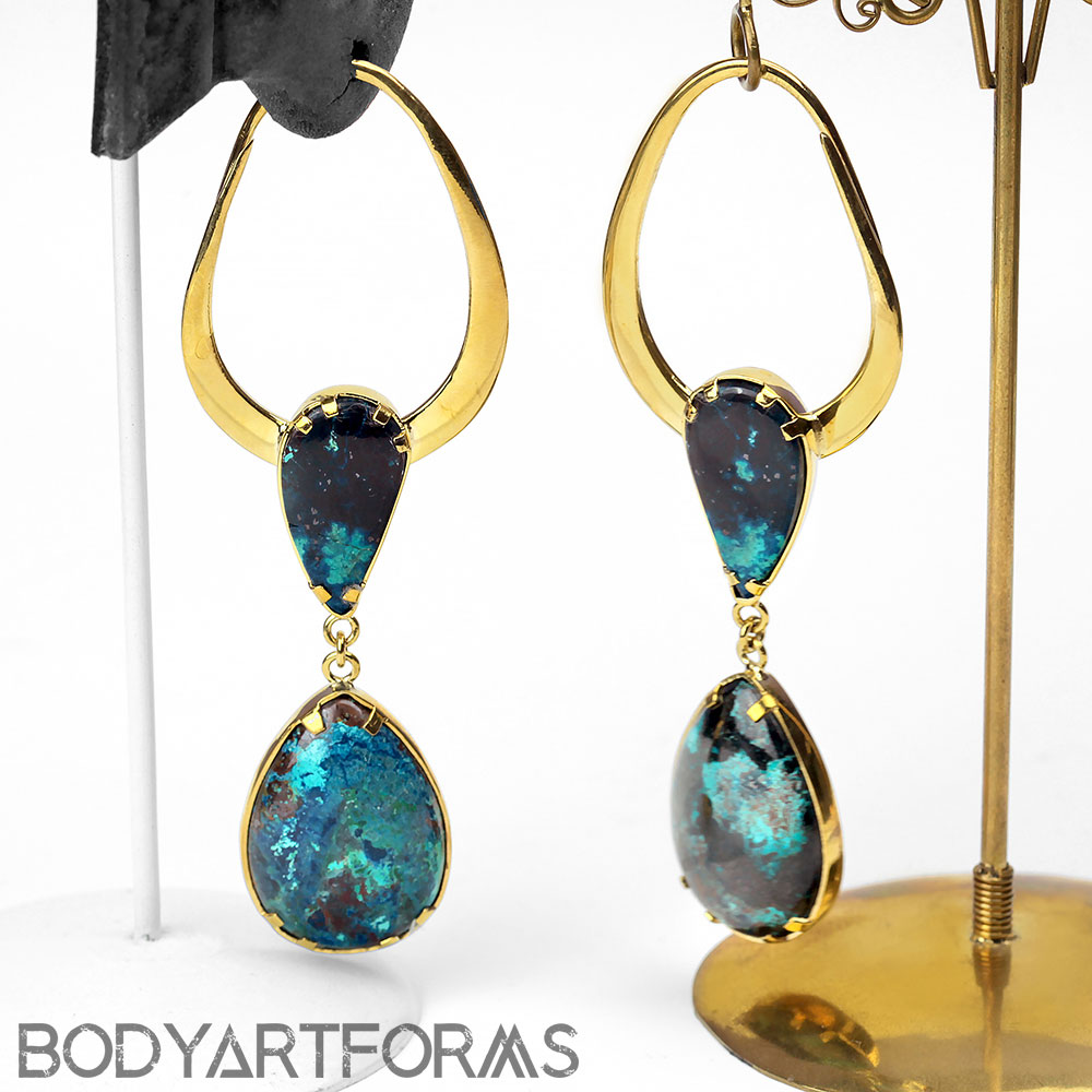 Solid Brass Teardrop Design with Chrysocolla
