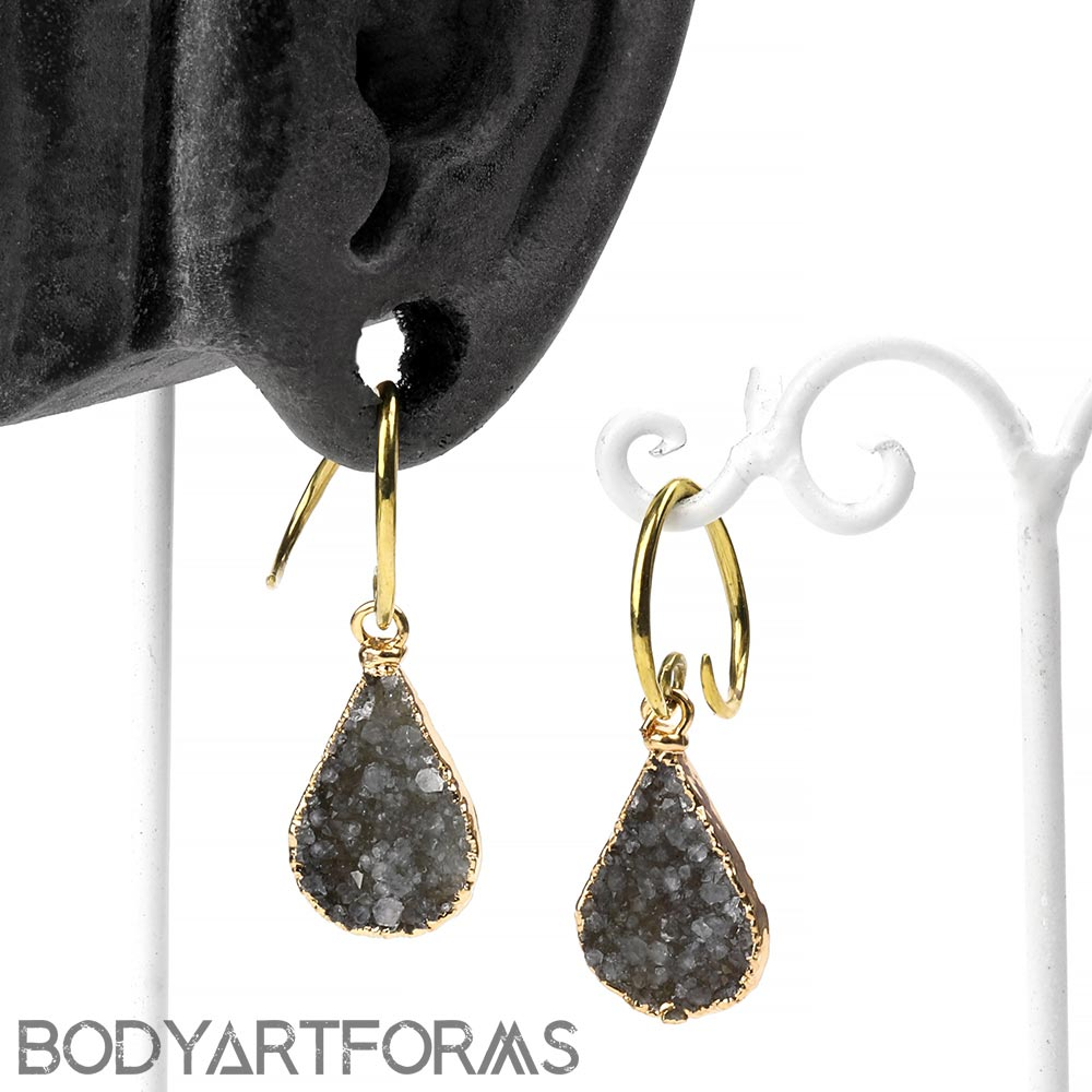 Brass and Electroplated Teardrop Druzy Dangles
