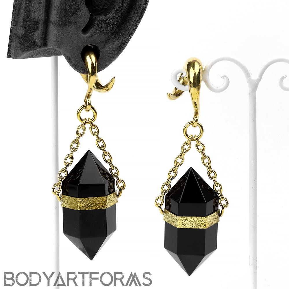 Solid Brass and Terminated Black Obsidian Crystal Weights
