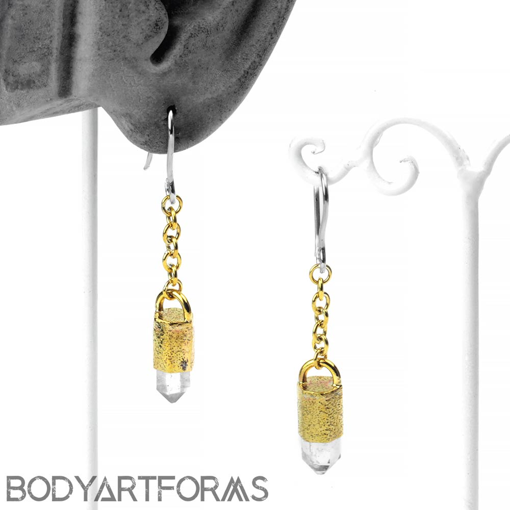 Brass and Tibetan Crystal Earrings