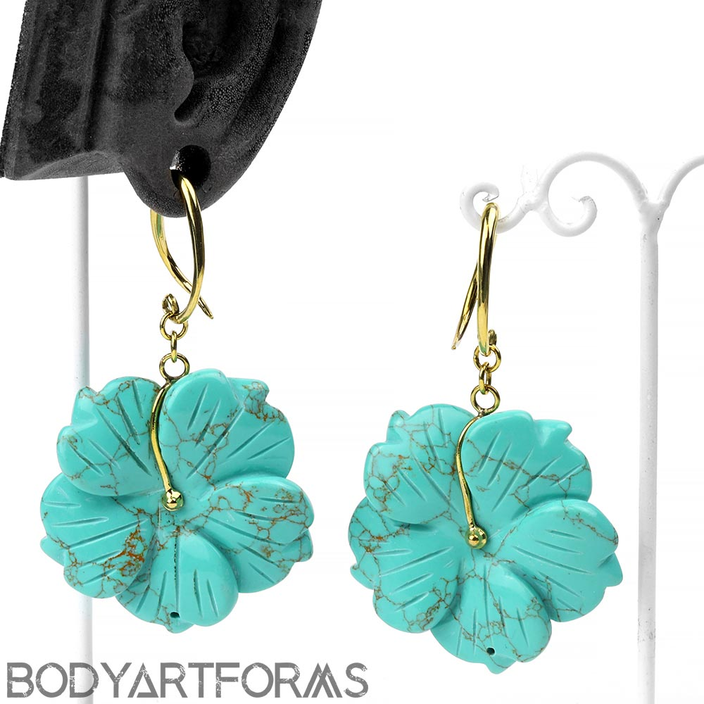 Solid Brass and Turquoise Flower Weights