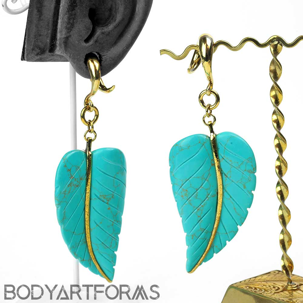 Solid Brass and Turquoise Leaf Weights