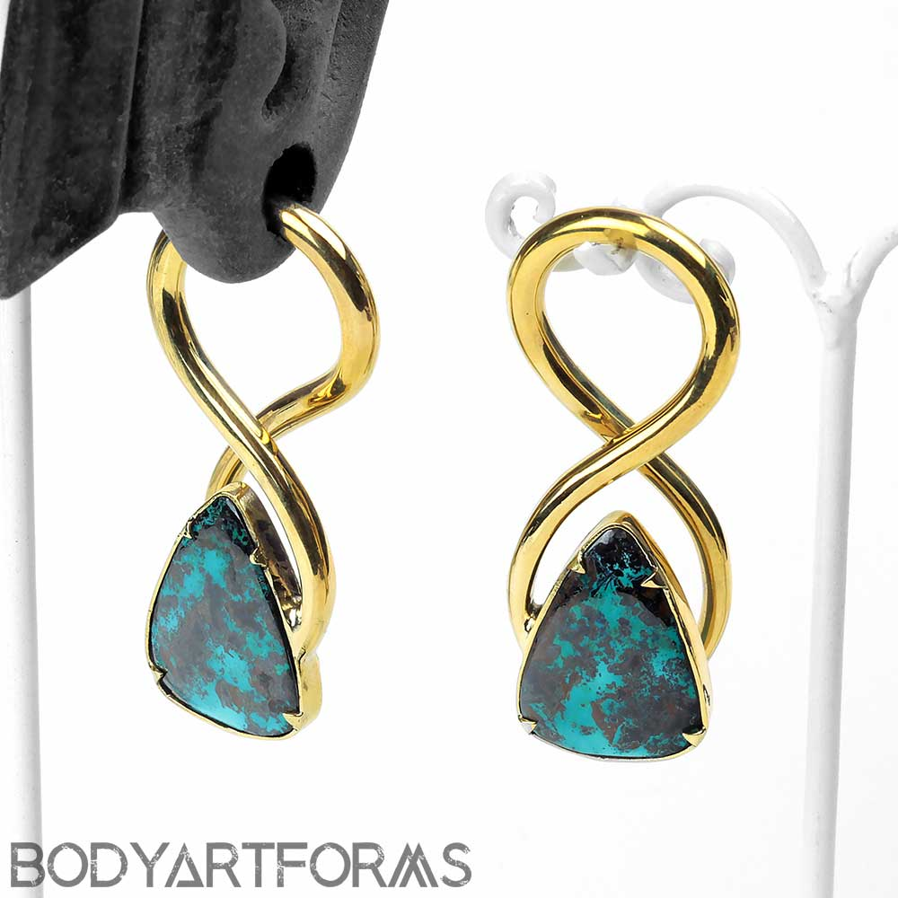 Brass Twists with Chrysocolla