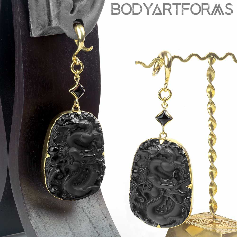 Brass and Black Obsidian Dragon Weights