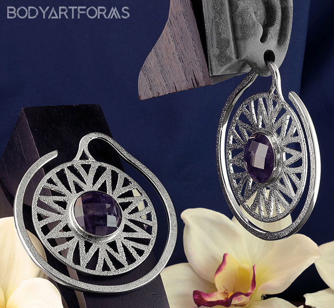 White Brass Essence Puj Ju Hoops with Amethyst