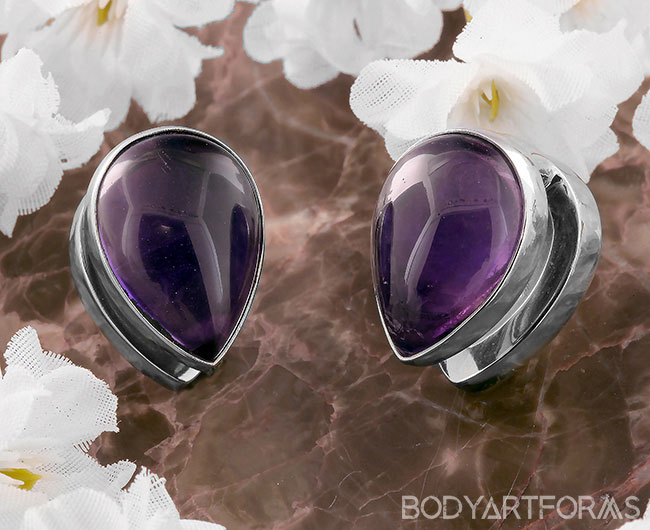 White Brass Spade Weights with Amethyst