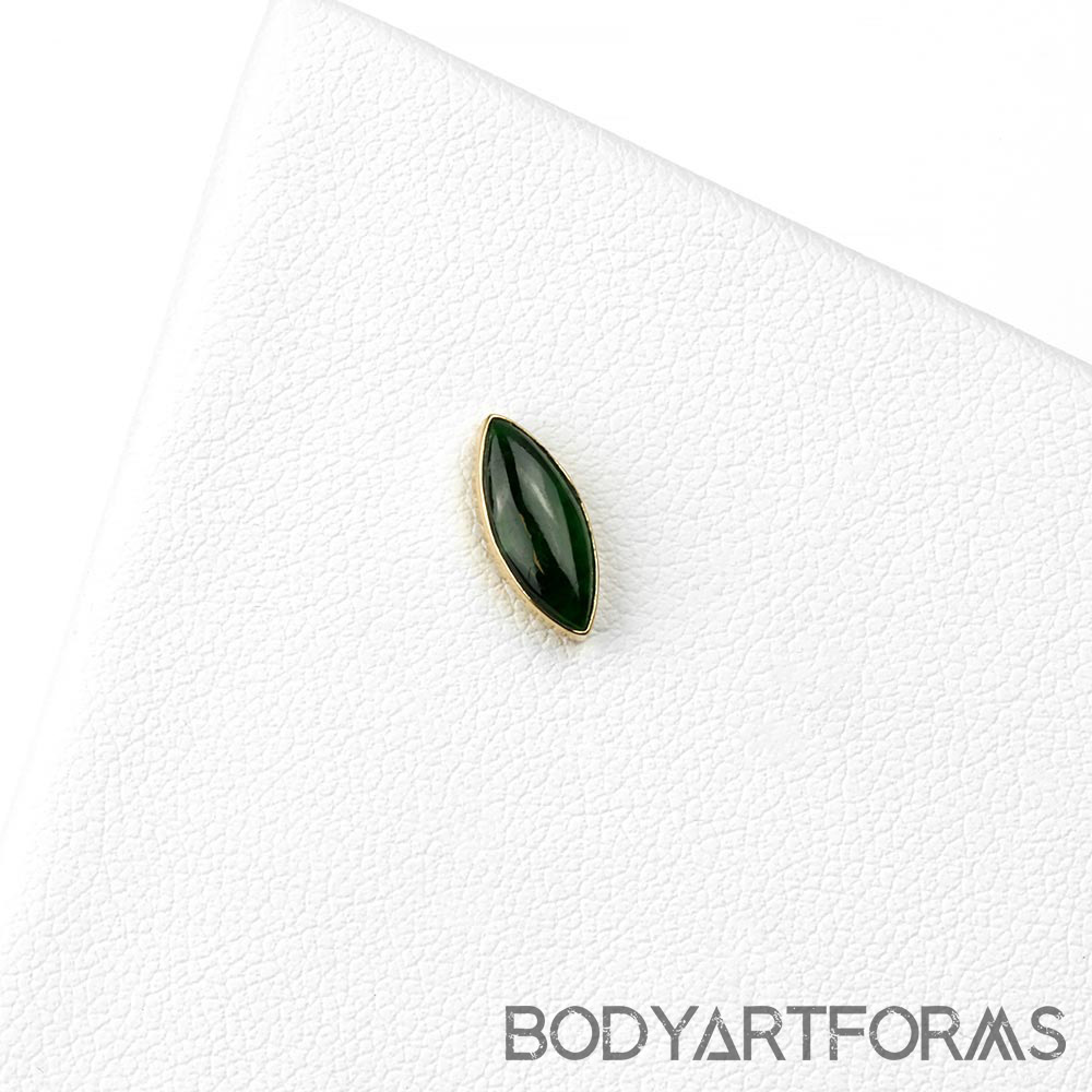 14k Gold Marquise Threadless End with Jade