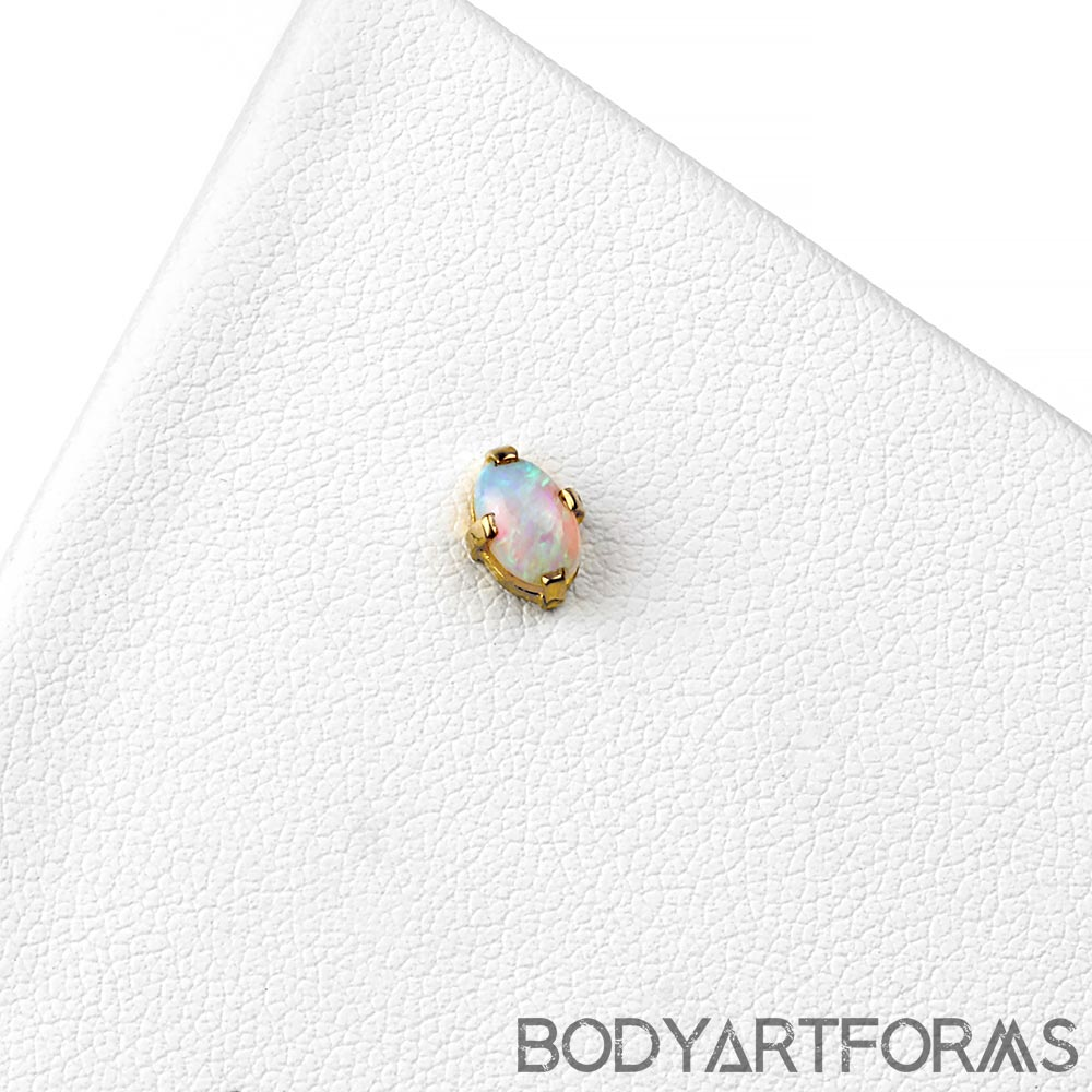 18k Gold Oval Threadless End with Genuine Opal